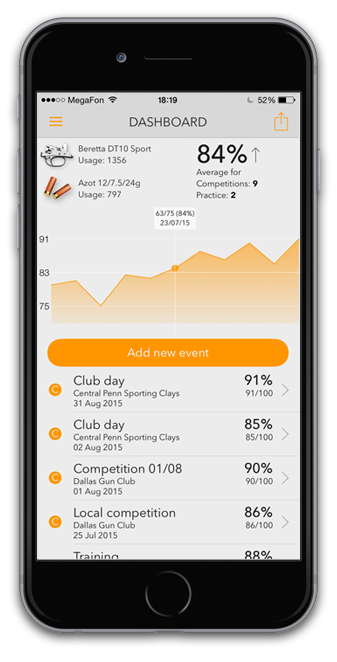 mobile app for clay pigeons shooting